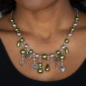 Pearly Green Key Heart Charm Necklace Earring NWT